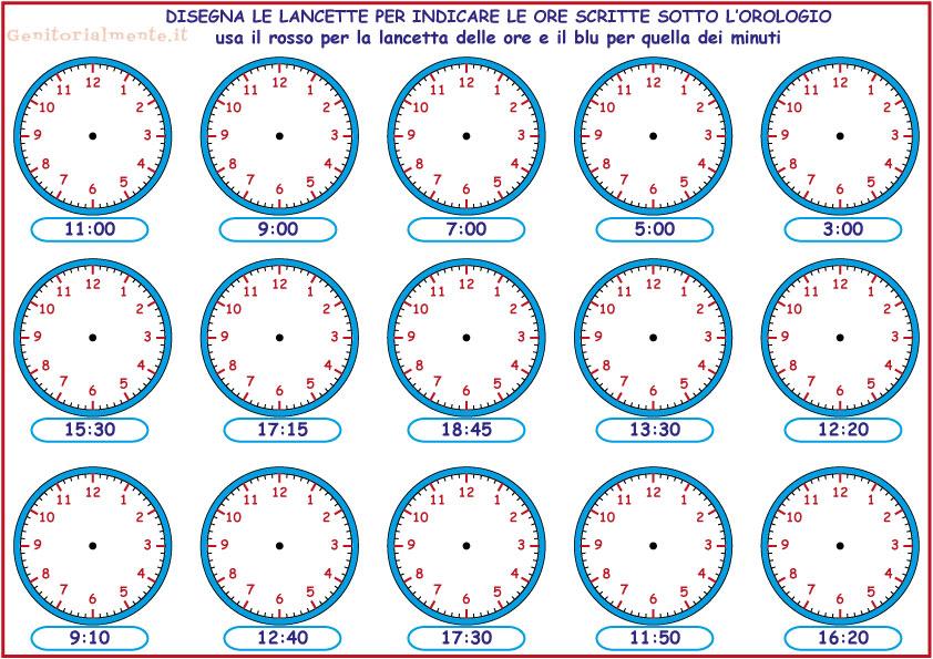 Ben noto Esercizi per insegnare a leggere l'orologio | Genitorialmente MY57