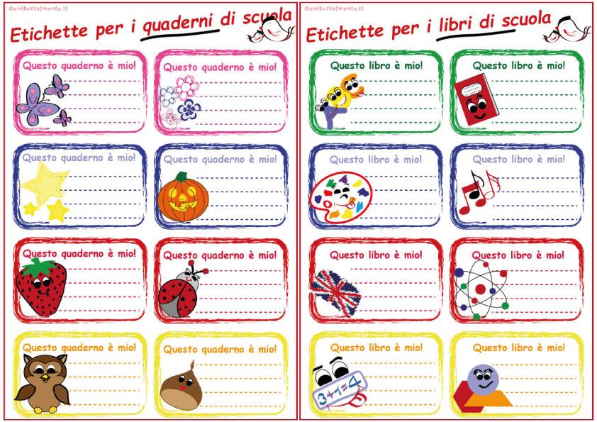 Preferenza Etichette per la scuola da scaricare | Genitorialmente WC22