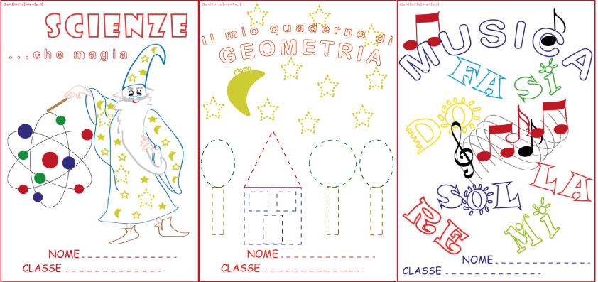 Estremamente Copertine per quaderni da colorare: scienze, geometria, musica  RR34