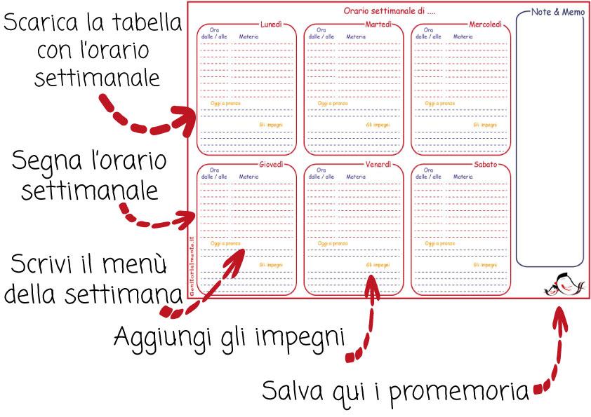 Orario scolastico settimanale da stampare + menù e impegni